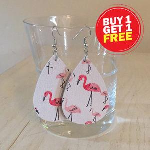 Jewelry - Flamingo faux leather drop earrings